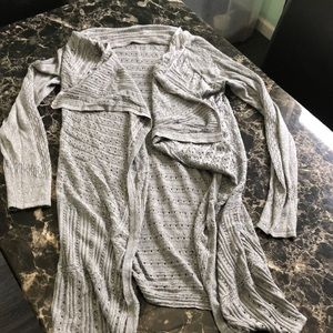 Gray open front sweater